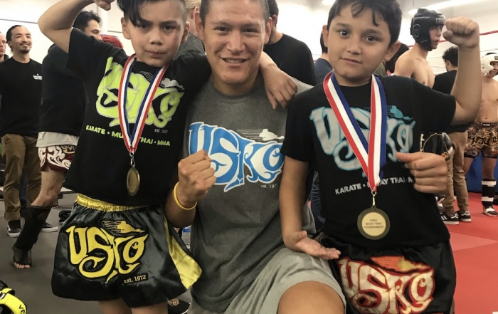 USKO Corona Muay Thai kids with Coach David at their Semi-Contact Tournament